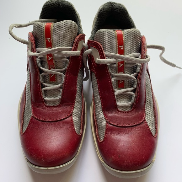 4e7f0efeaaec2 Prada Shoes   Euc Americas Cup Sneakers 85 Red Leather   Poshmark